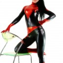 Shiny Metallic Unisex Catsuit with Black and Red Pattern