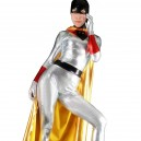 Supply Silver Shiny Metallic Bat Woman Costume with Mantle