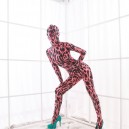 Supply Red Leopard Spots DuPont Morph Suit Zentai Catsuits Tights