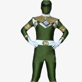 Green And White Shiny Metallic Morph Suit Zentai Suit