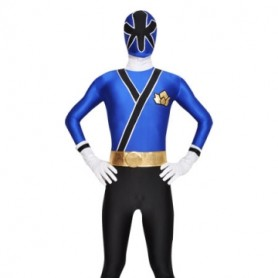 Blue and Black Lycra Spandex Unisex  Morph Suit Zentai Suit