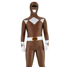 Coffee and White Lycra Spandex Unisex Morph Suit Zentai Suit