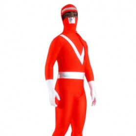 Red And Sliver Pattern B Lycra Spandex Unisex Morph Suit Zentai Suit