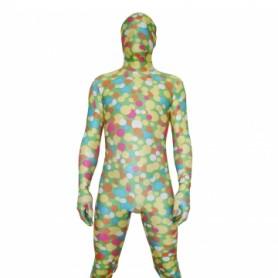 Soft Green Dot Lycra Spandex Unisex Morph Suit Zentai Suit