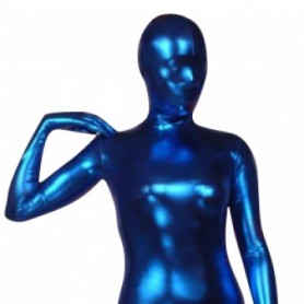 Blue Shiny Metallic Morph Suit Zentai Suit