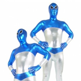 Blue and Silver Shiny Metallic Unisex Morph Suit Zentai Suit