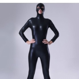 Classic Black Shiny Metallic Male Morph Suit Zentai Suit