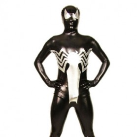 Cool Black And Silver Shiny Metallic Morph Suit Zentai Suit
