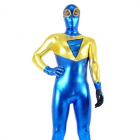 Gold And Blue Shiny Metallic Super Hero Morph Suit Zentai Suit