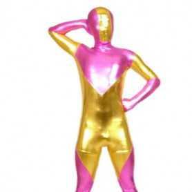 Pink And Gold Shiny Metallic Morph Suit Zentai Suit