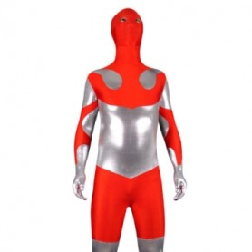 Silver And Red Shinny Metallic Lycra Spandex Morph Suit Zentai Suit