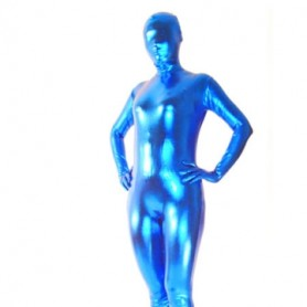Top Perfect Top Blue Shiny Metallic Unisex Morph Suit Zentai Suit