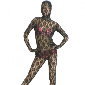 Black Transparent Lace Velour Morph Suit Zentai Suit