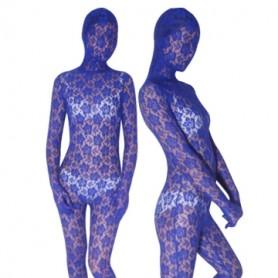 Blue Transparent Velvet Unisex Morph Suit Zentai Suit