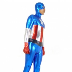 Captain America Shiny Metallic Morph Suit Zentai Suit