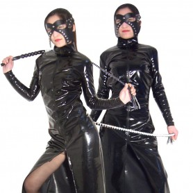 Front Open Sexy Shiny PVC Catsuit with Whip and Mask