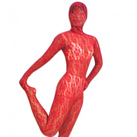 Red Transparent Lace Velour Morph Suit Zentai Suit
