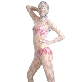 White Transparent Lace Velour Morph Suit Zentai Suit