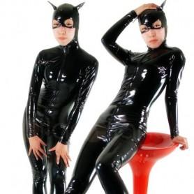 Black Devil Front Open PVC Unisex Catsuit