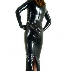 Black PVC Back Open Cheongsam Gown