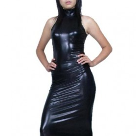 Black Sexy PVC Dress
