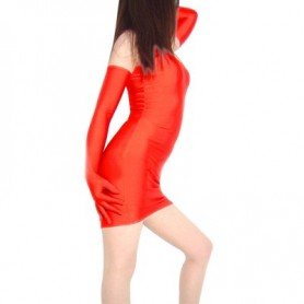 Erotic Skirt Lycra Spandex Catsuit with Long Sleeves