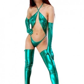 Perfect Green Shiny Metallic Sexy Costume