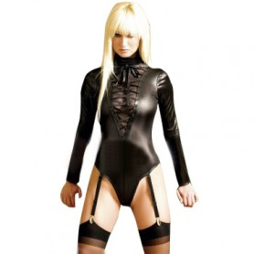 Shiny Metallic Black Half Length Catsuit