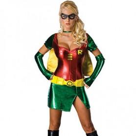 Red Batgirl Robin Lycra Shiny Metallic Super Hero