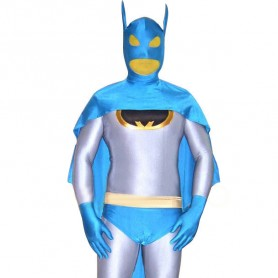 Silver Lycra Batman Catsuit with Cape and Underwear