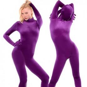 Velvet Purple Lycra Spandex Catsuit