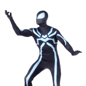 Black Fluorescence Spiderman Super Hero Full Body Spandex Holiday Unisex Lycra Morph Zentai Suit