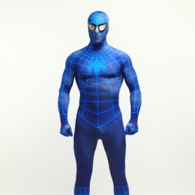 Deep Blue Spiderman Super Hero Halloween Full Body Spandex Holiday Unisex Lycra Morph Zentai Suit