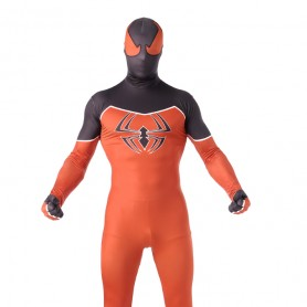 Orange and Black Spiderman Super Hero Halloween Full Body Spandex Holiday Unisex Lycra Morph Zentai Suit