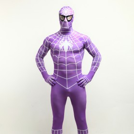 Purple Spiderman Super Hero Halloween Full Body Spandex Holiday Unisex Lycra Morph Zentai Suit