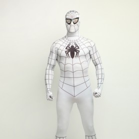 White Spiderman Super Hero Full Body Spandex Holiday Unisex Lycra Morph Zentai Suit