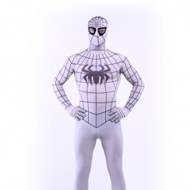 White Spiderman Super Hero Halloween Full Body Spandex Holiday Unisex Lycra Morph Zentai Suit