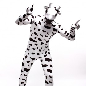 Black and White Dots Cow Cartoon Full Body Halloween Spandex Holiday Unisex Cosplay Zentai Suit