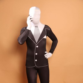 Men's Black and White Halloween Full Body Spandex Holiday Unisex Lycra Morph Zentai Suit