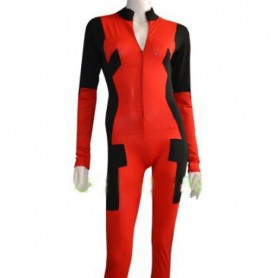 2015 Deadpool Costume Front Open Catsuit Without Hood Hand Feet