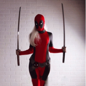 Black and Red Deadpool Costume Spandex Deadpool Bodysuit with Ponytail Hole