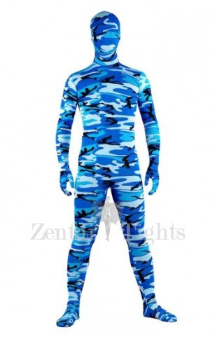 Full Body Morph Suit Zentai Tights Blue Camouflage Pattern Morph Suit Zentai suit