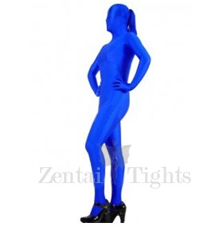 Blue Lycra Spandex Unisex Morph Suit Zentai with Horse Tail