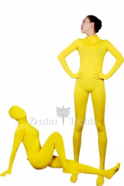 Cool Yellow Lycra Spandex Unisex Morph Suit Zentai Suit