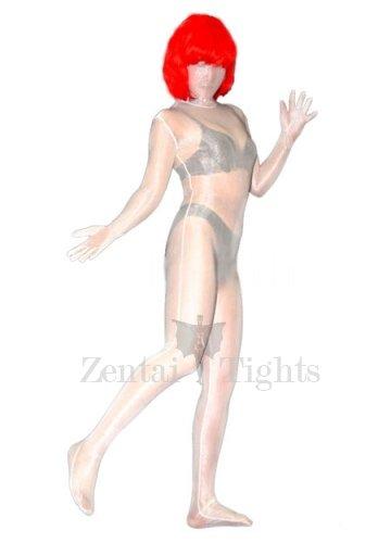 Transparent White Lycra Spandex Unisex Morph Suit Zentai Suit