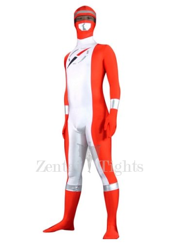 Red And Sliver Pattern Lycra Spandex Unisex Morph Suit Zentai Suit