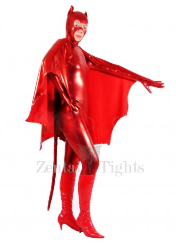 Shiny Metallic Red Bat Unisex Catsuit