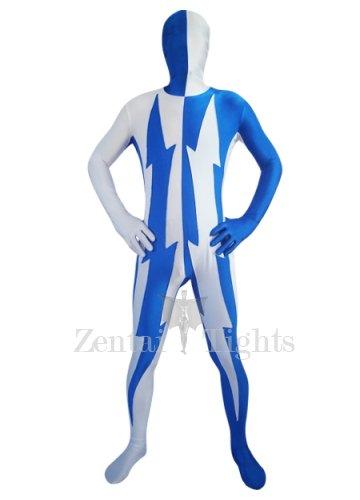 White And Blue Lycra Spandex Unisex Morph Suit Zentai Suit