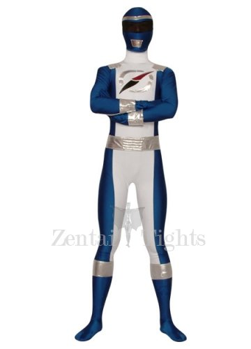 Blue And White Lycra Spandex Super Hero Costume