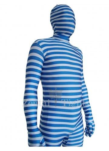 Blue And White Stripe Lycra Unisex Morph Suit Zentai
